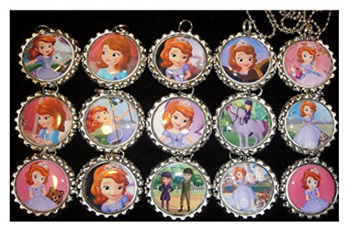 15 SOFIA THE FIRST PRINCESS Flat Bottle Cap Necklaces for Birthday, Party Favor Set (Princess Bottle Cap Necklace)
