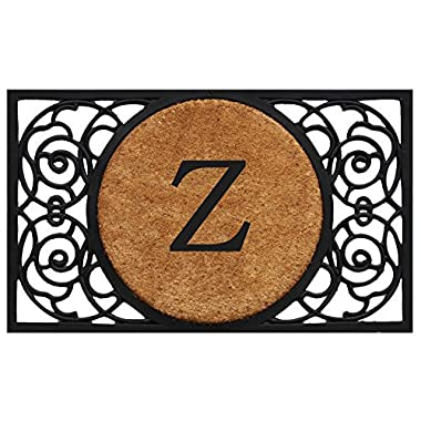 Home & More 180031830Z Armada Circle Doormat, 18  x 30  x 1 , Monogrammed Letter Z, Natural/Black