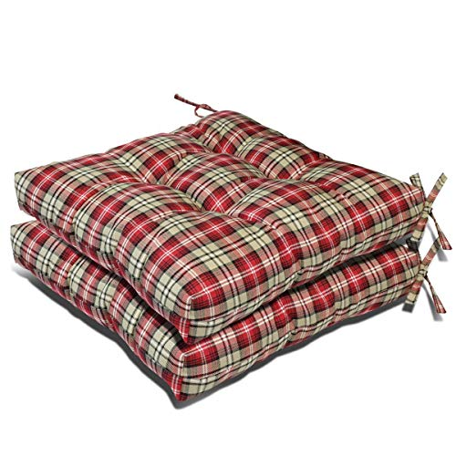 Prettyshop4246 Wicker Warm Cushion Seat Pad Indoor Outdoor Poolside Home Garden Patio Backyard Balcony Linen Fabric Made in USA Product Soap Maintain Easy Clean Red Scott Color Set of 2 Pcs by Prettyshop4246 (Image #1)