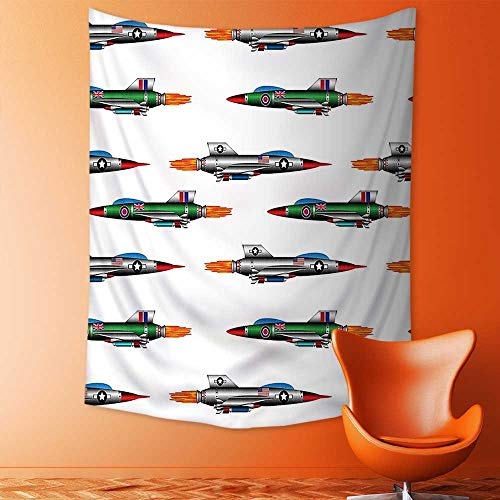 aolankaili Tapestry Mystic House Decor,Collection of Jet Fighters Rocket Aviation Attack Fire Bombers Missile Modern UK Model Bedroom Living Room Dorm Wall Hanging Tapestry