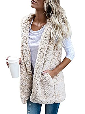 Wollsolo Women's Open Front Sleeveless Cardigan Fuzzy Hoodie Sherpa Fleece Vest with Pockets