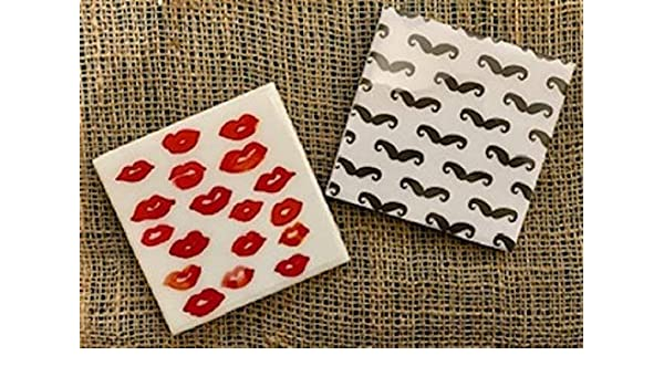 07411b4e0b11 Red Lips and Mustaches Coasters Set of 2 - Valentines Day Gift for New  Couple
