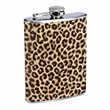 Animal Print Cheetah S6 Flask Stainless Steel 8oz Hip Silver Whiskey Drinking Spirits Liquor