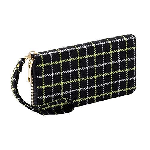 Pamidadress Women Zipper Wallet Black Wallet Purse linen Phone Card Holder with Coin Pocket and Strap