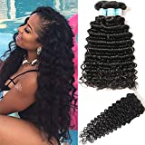 NewYou Brazilian Virgin Deep Wave 3 Bundles with Closure 8A Grade Unprocessed Human Hair with 4×4 Lace Closure Free Part Natural Color (10 12 14 W 10)