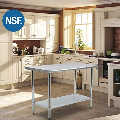 Kitchen Work Table Metal Stainless Steel Commercial Scratch Resistent And Antirust NSF Work Table With Adjustable Table Toot,24 X 60 Inches ()