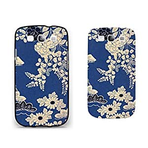 Vintage Floral Designer Samsung Galaxy S3 Case Cover Vogue Flowers Print Personalized Blue Hard Plastic Cell Phone Case Shell for Women