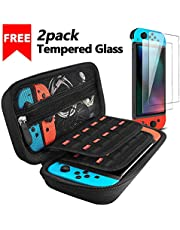 Nintendo Switch Case with 2 Pack Screen Protector, iVoler Protective Portable Hard Shell Pouch Carrying Travel Game Bag for Nintendo Switch Console Accessories Holds 20 Game Cartridge