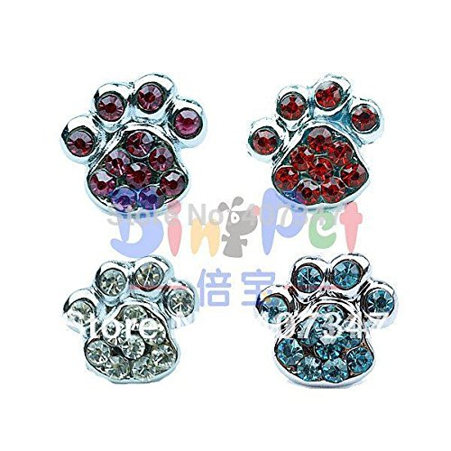 UltiSmart(TM)MOQ 24pcs can mix 4 colors,10mm Crystal Paw Heart sliders, DIY pet letters personalized pet collar charm ()