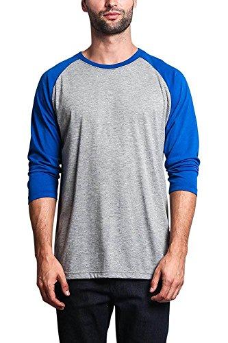 - Victorious Men's Baseball T-Shirt TS900 - Grey/Royal Blue - Large
