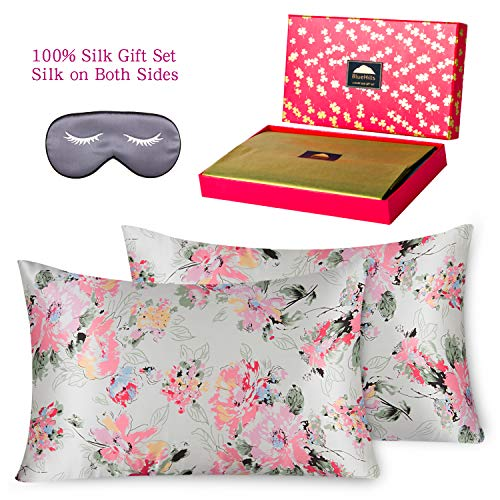 - BlueHills 3 Piece Luxury Silk Gift 100% Pure Mulberry Natural Soft Both Sides Silk Pillowcase 2 Pack for Hair and Skin Hidden Zipper & Pure Silk Eye Mask in Gift Box Design Pattern Queen Size, QD002