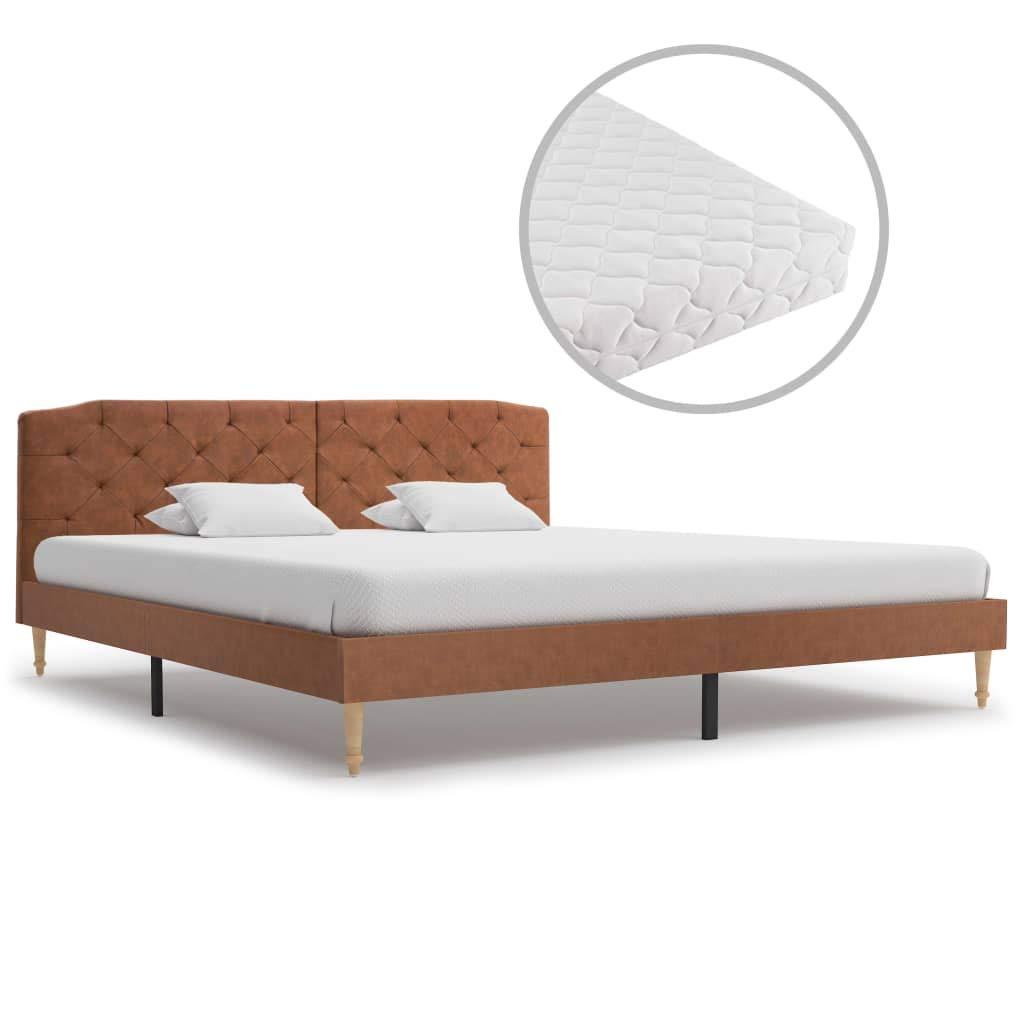 vidaXL Bett mit Matratze Polsterbett Stoffbett Doppelbett Ehebett Bettgestell Bettrahmen Lattenrost Schlafzimmerbett Braun Stoff 180x200cm