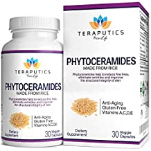 Phytoceramides Made From Rice - NON GMO Gluten Free Skin Care Hair & Nails Supplement, 30 Vegetarian Capsules