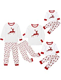 MysterLuna 2Pcs Xmas Elk Family Matching Pajamas Pjs Sleepwear Nightwear Set