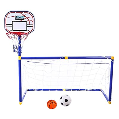 SHZONS Soccer Goal Pool Set with Basketball Hoop Set for Kids Outdoor Sports Basketball Stand Soccer Goal: Home & Kitchen