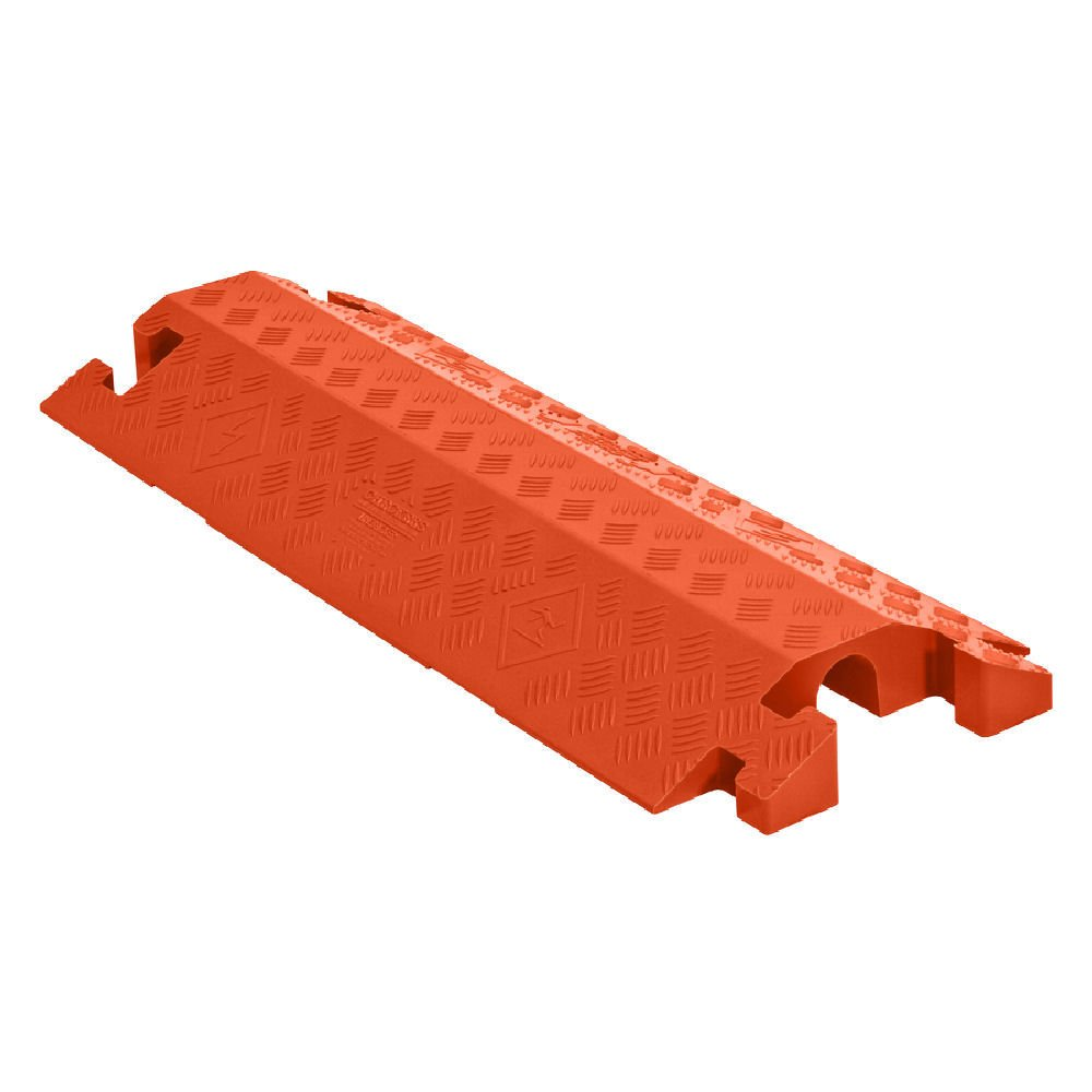 Linebacker CP1X225-GP-DO-O Polyurethane Heavy-Duty General-Purpose 1-Channel Drop-Over Cable Protector with 2.25'' Channel and T-Shaped Connectors, Orange, 36'' Length x 14.25'' Width x 3'' Height