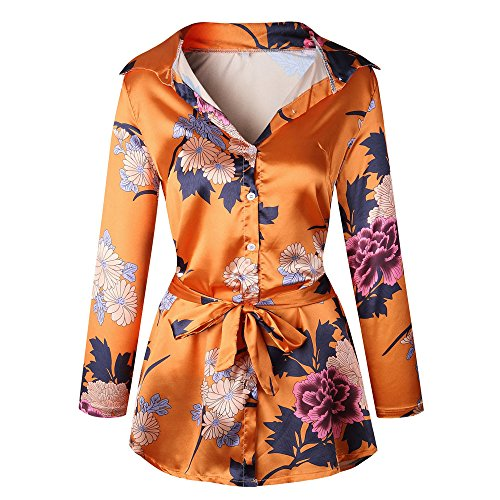 Women Long Tunic On Chanyuhui Orange Silk Tops Flowy Floral Satin Lady Sleeve Dresses Mini Evening Party Sale Dress FndUUPBW