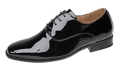 Herren Abend Uniform Oxford Schuhe Schwarz Lack Amazon De