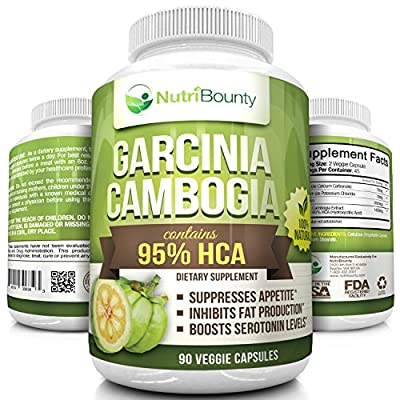 Pure 95% HCA Garcinia Cambogia (90 Veggie Capsules) | 1400mg per Serving / 2800mg Daily | Highest Grade by NutriBounty