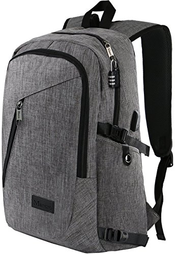 "| Laptop Backpack, Travel Computer Bag for Women & Men, Anti Theft Water Resistant College School Bookbag, Slim Business Backpack w/ USB Charging Port Fits UNDER 17"" Laptop & Notebook by Mancro (Grey)"