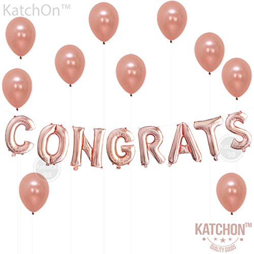 Congrats Rose Gold Balloons Decorations – Great for Graduation Decorations, Wedding, Bridal Baby Shower Party Supplies | 16 Inch Mylar Foil Letter Balloons | Extra Pack of 10 Rose Gold Latex Balloons