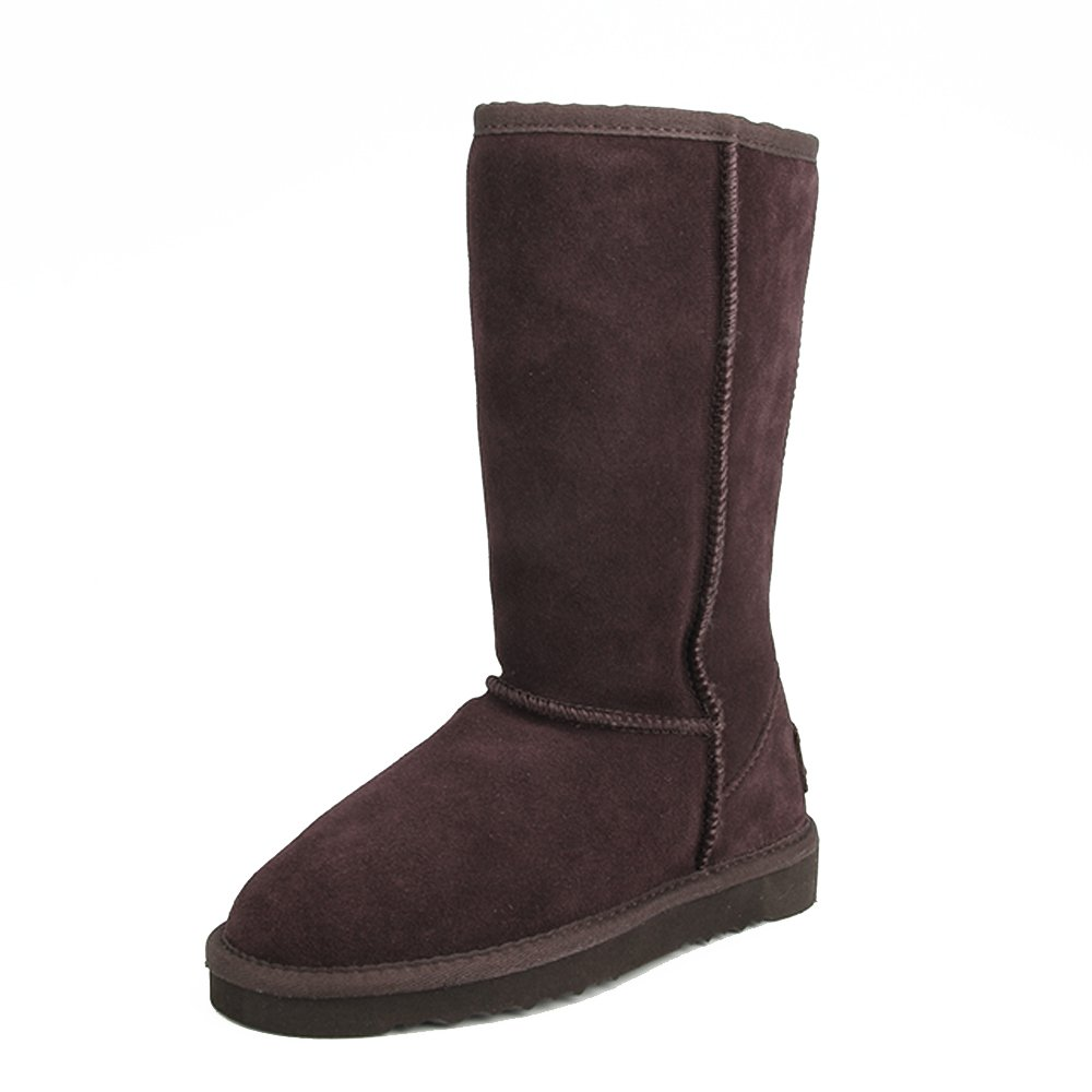 Chocolate(f15) Ausland--Women's Half Snow Boots, with Water-Resistant Vamp, Thick Fur Lining and Lightweight Rubber Sole