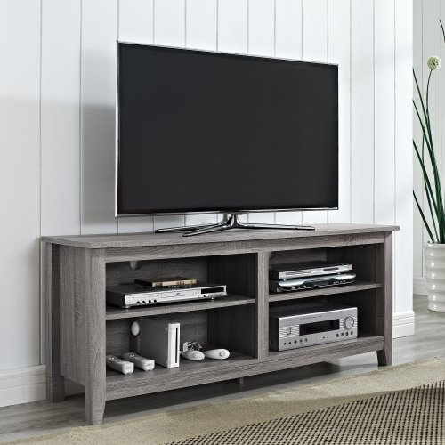 New 58 Modern Tv Console Stand Driftwood Finish