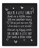 Baby Quote Nursery Art Chalkboard Typography Print - Perfect Baby Shower or New Baby Gift - ''Hold Me A Little Longer'' - Christening Baptism Gift by Ocean Drop Designs