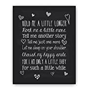 Baby Quote Nursery Art Chalkboard Typography Print - Perfect Baby Shower or New Baby Gift -  Hold Me A Little Longer  - Christening Baptism Gift by Ocean Drop Designs