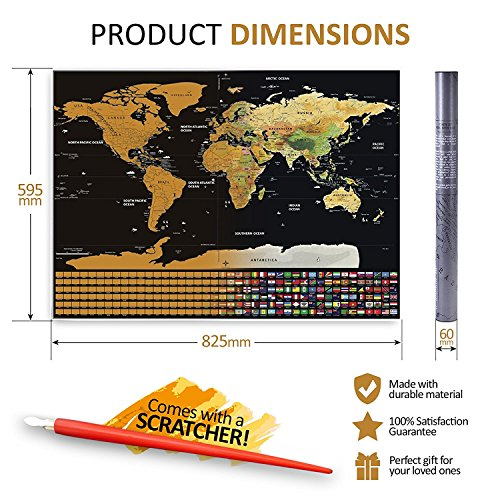 Scratch Off World Map Poster   Travel Map  Print W  Us States And Country Flags   Perfect Gift  For Travelers Fun Educational Learning   Teaching Tool For All Ages  32 5 X23 5  Easy Scratch
