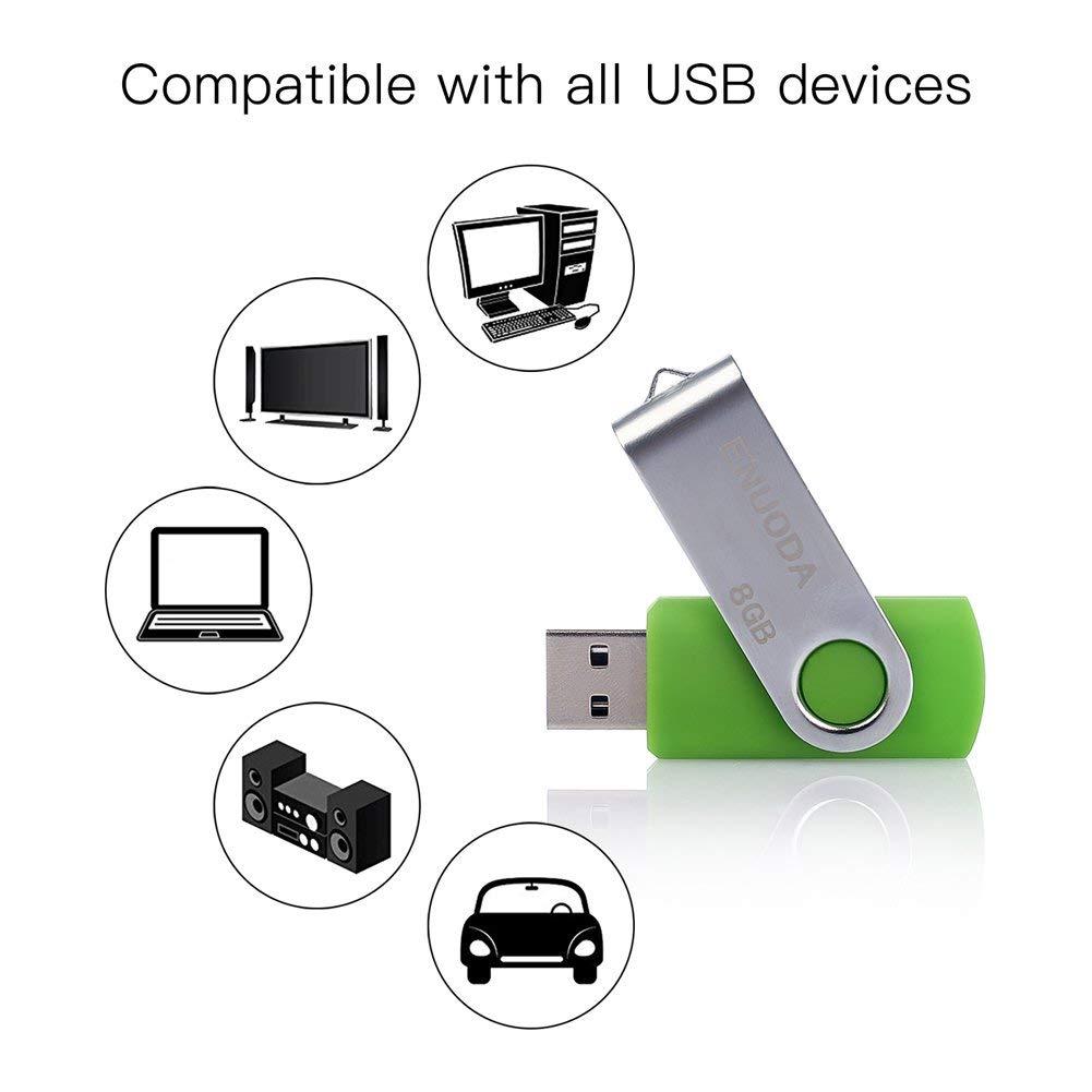 Lot de 10 Cl/é USB 32 Go ENUODA USB 2.0 Flash Drive Stockage Rotation Disque M/émoire Stick 10 Couleur Mixte
