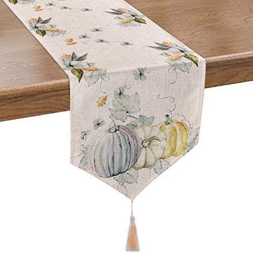 Autumn Leaves Table Runner (Smurfs Yingda Pumpkin Autumn Leaves Table Runner Watercolor Table Runner for Thanksgiving Day, Autumn, Fall, Catering Events, Dinner Parties, Wedding, Indoor and Outdoor Parties(14 × 70)