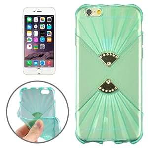 0,6 mm Ultra fina Fans Double Diamond encrusted TPU-Funda para iPhone 6 (Green) Case Cover