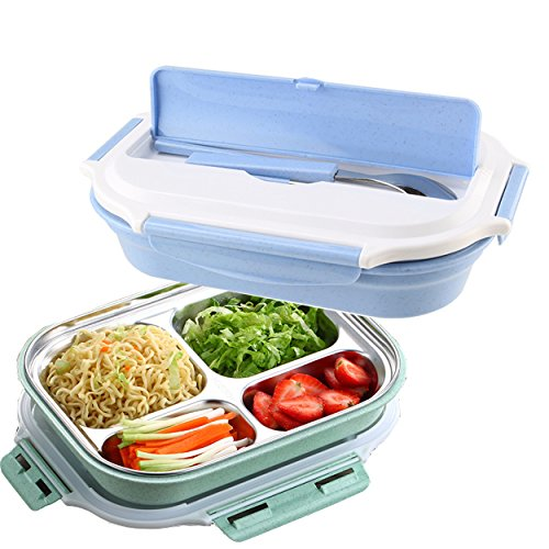 Bento Lunch Box Set, Mr.Dakai Stainless Steel Food Container with Spoon and Chopsticks for Kids Adult, Non-toxic Tasteless safety - Dishwasher Microwave Safe (Blue)