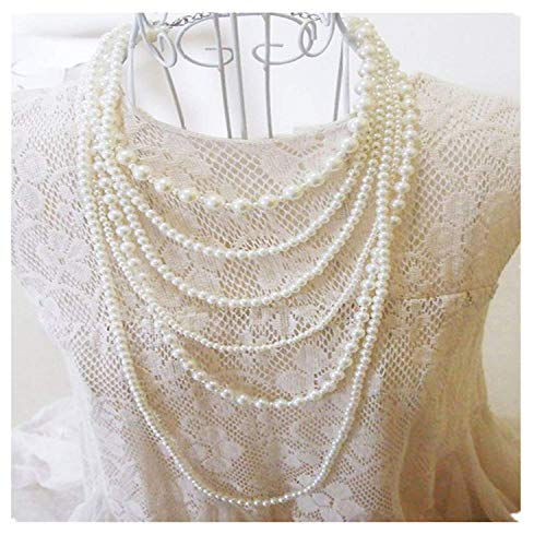 (HUAMING Womens Fashion Exquisite White Multilayer Pearl Necklace Charm Bib Choker Necklace Jewelry (As Shown))