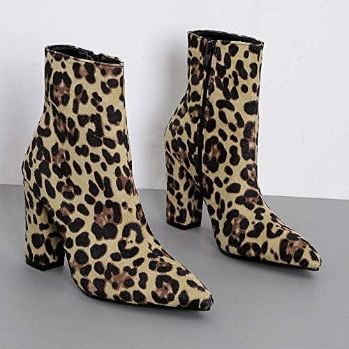 WORMENG Chelsea - Botas de Mujer de Piel de Serpiente/Leopardo, Punto, Botas y Botas de tacón Alto de 10 cm, con Cremallera marrón 37: Amazon.es: Ropa y accesorios