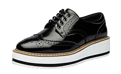 220fc3c4bfb3 LAIKAJINDUN Women s Platform Brogue Shoes Leather Wedges Oxfords Shoes Black  ...