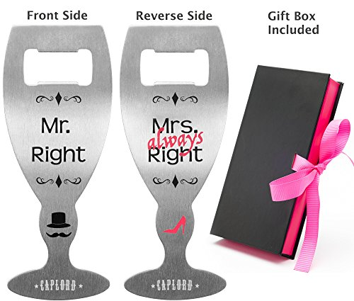 Mr. Right and Mrs. Always Right - Novelty Bottle Opener by CAPLORD, Funny Bridal Shower Gift for Bride - Wedding & Engagement Present for Couples, Comes Gift-Ready by CAPLORD