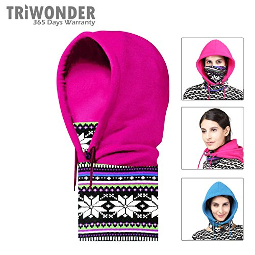 Triwonder Fleece Full Face Cap Hat Neck Warmer Face Mask Balaclava Hat (Rose Red-1-2)