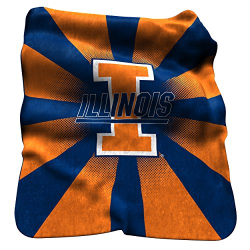 Logo Brands NCAA Illinois Illini Raschel Throw Blanket (Illini Fighting Blanket)