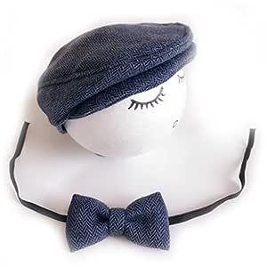 Gorro de ganchillo para bebé y corbata hecho a mano para recién ...