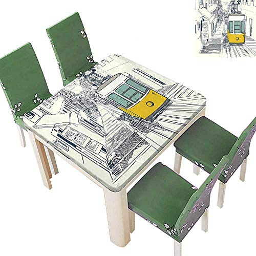 Printsonne Indoor/Outdoor Polyester Tablecloth Style City Scenery Street in Town Lisb Modern Work COC ut Mustard Wedding Party 52 x 52 Inch (Elastic -