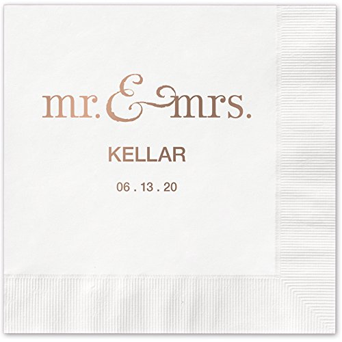 Mr and Mrs Personalized Luncheon Dinner Napkins - Canopy Street - 100 Printed White Paper Napkins with choice of foil stamp (5125L)