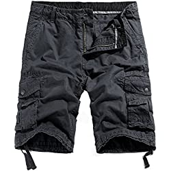 WenVen Men's Cotton Twill Cargo Shorts Outdoor Wear Lightweight (No.4 Charcoal, 38)