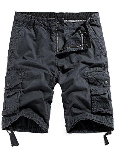WenVen Men's Cotton Twill Cargo Shorts Outdoor Wear Lightweight (No.4 Charcoal, 40)