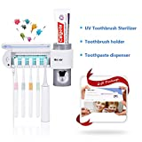 MECO UV Toothbrush Holder, 5 Toothbrush Sterilizer Holder + Automatic Toothpaste Dispenser Wall Mounted with Sticker for Oral-B Toothbrush Women Kids Baby Bathroom