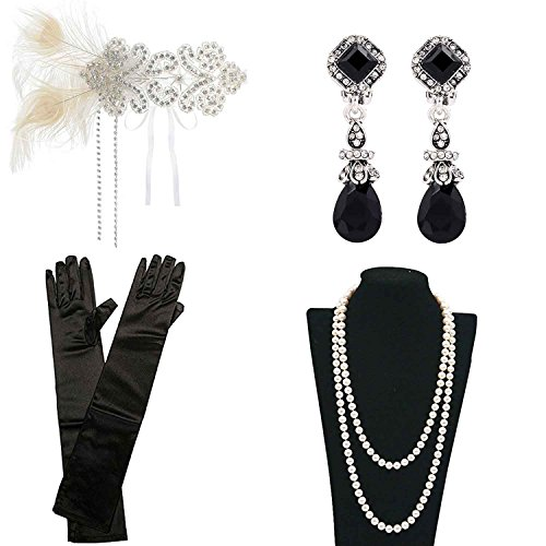 1920's Cigarette Girl Costume (1920s 30s Gatsby Flapper Costume Accessories Feather Headband Earrings Pearl Necklace Gloves Cigarette Holder (B))