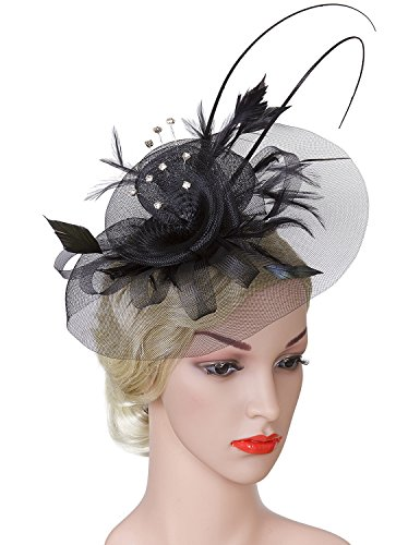 Horse Head Pattern A Costume (Vijiv Women Vintage Derby Fascinator Hat Pillbox Headband Feather Cocktail Tea Party)