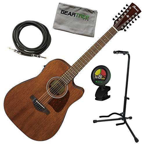 Ibanez AW5412CE OPN Open Pore 12-String Acoustic Electric Guitar w/Tuner, Cable
