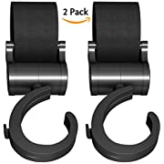 Pack of 2 Handy Stroller Hooks, Multi Purpose Stroller Clips, Perfect Stroller Accessories Clips On Any Baby Stroller Travel Systems, Secure Purses, Diaper Bags, Shopping bags And Lots More by Attmu